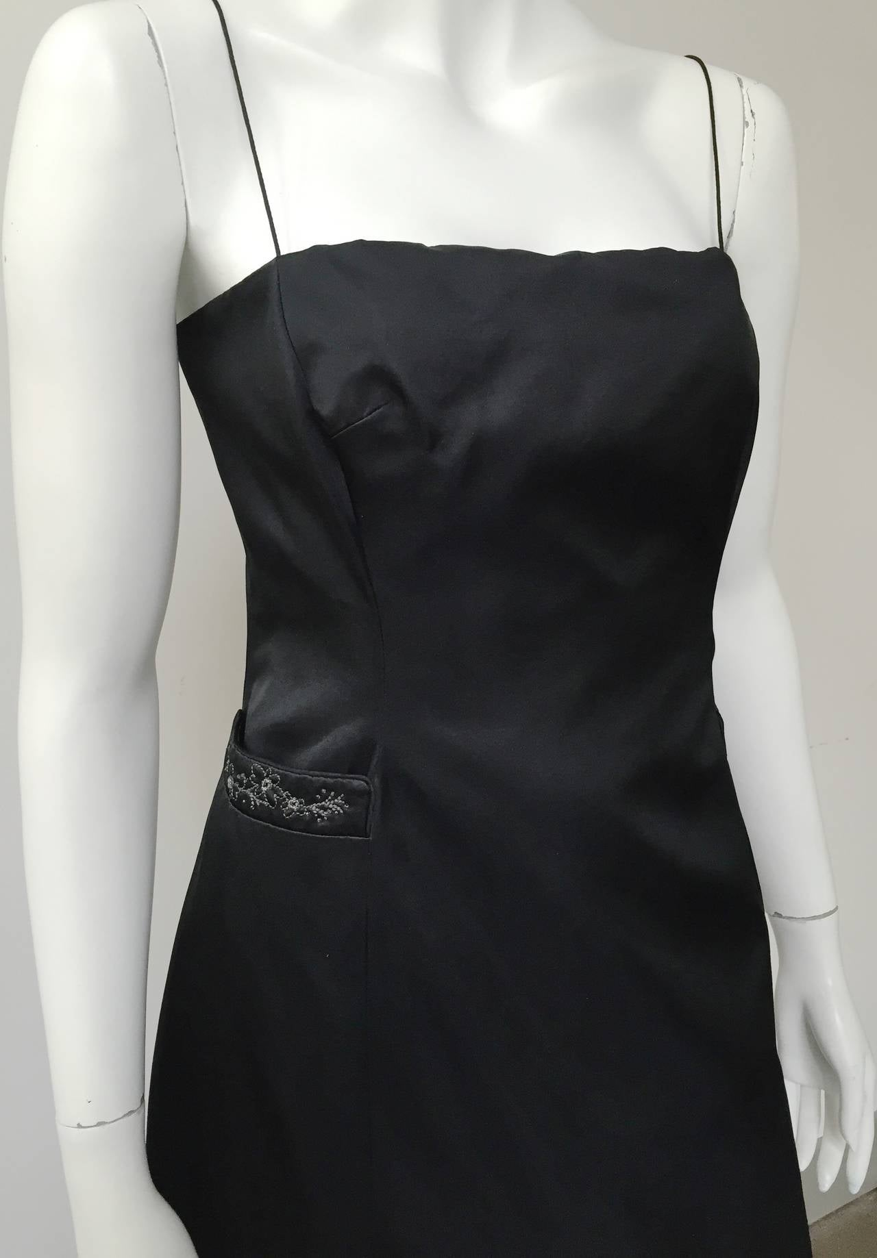 Richard Tyler Couture Black Silk Dress Size 6. In Good Condition For Sale In Atlanta, GA