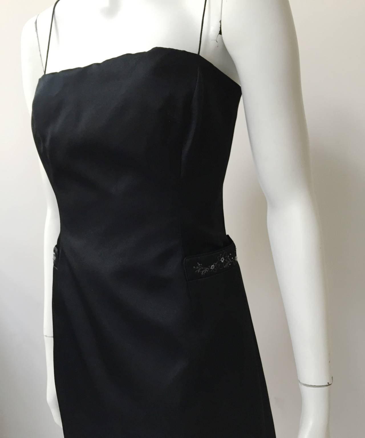 Women's Richard Tyler Couture Black Silk Dress Size 6. For Sale