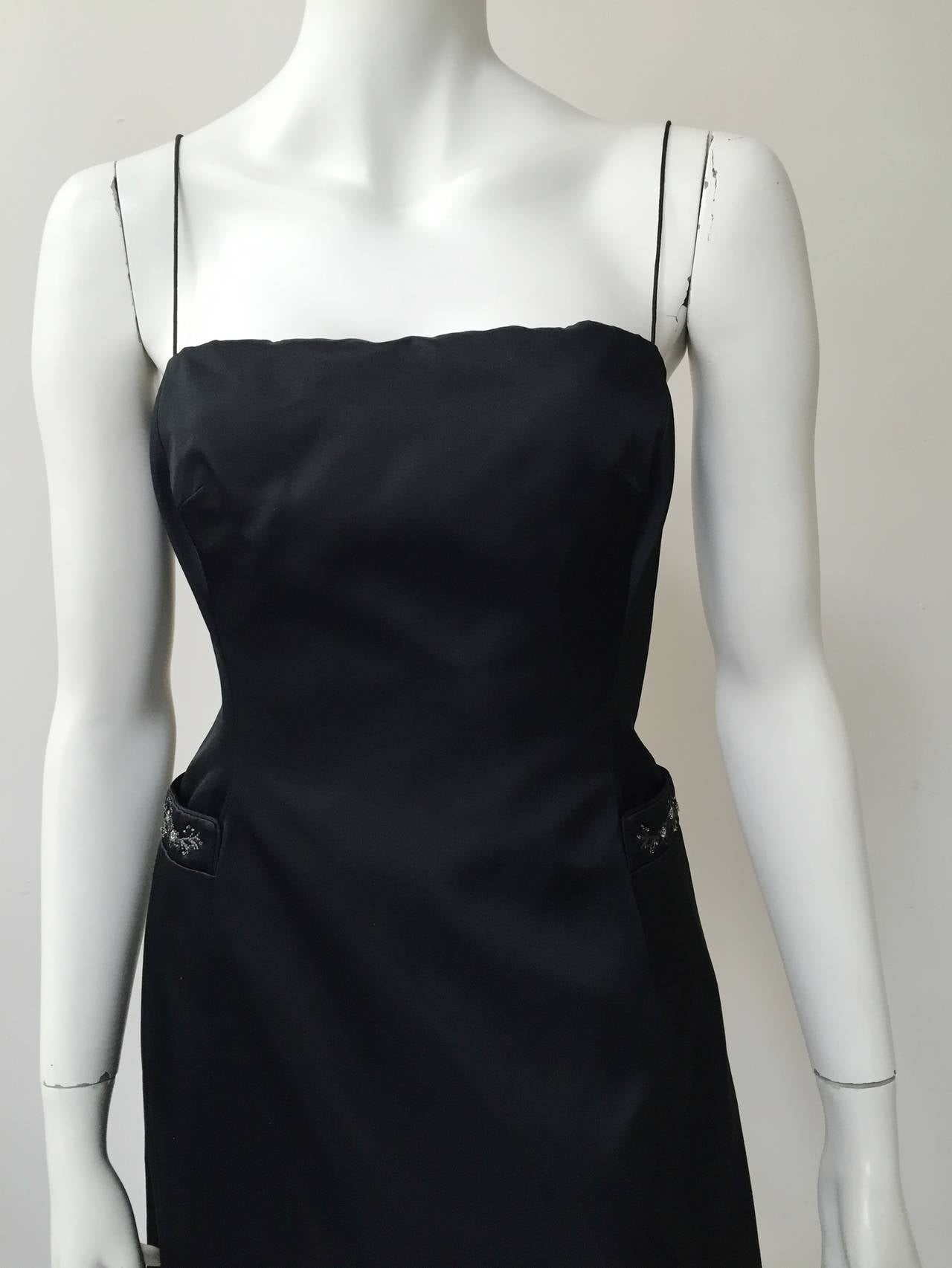 Richard Tyler Couture Black Silk Dress Size 6. For Sale 1