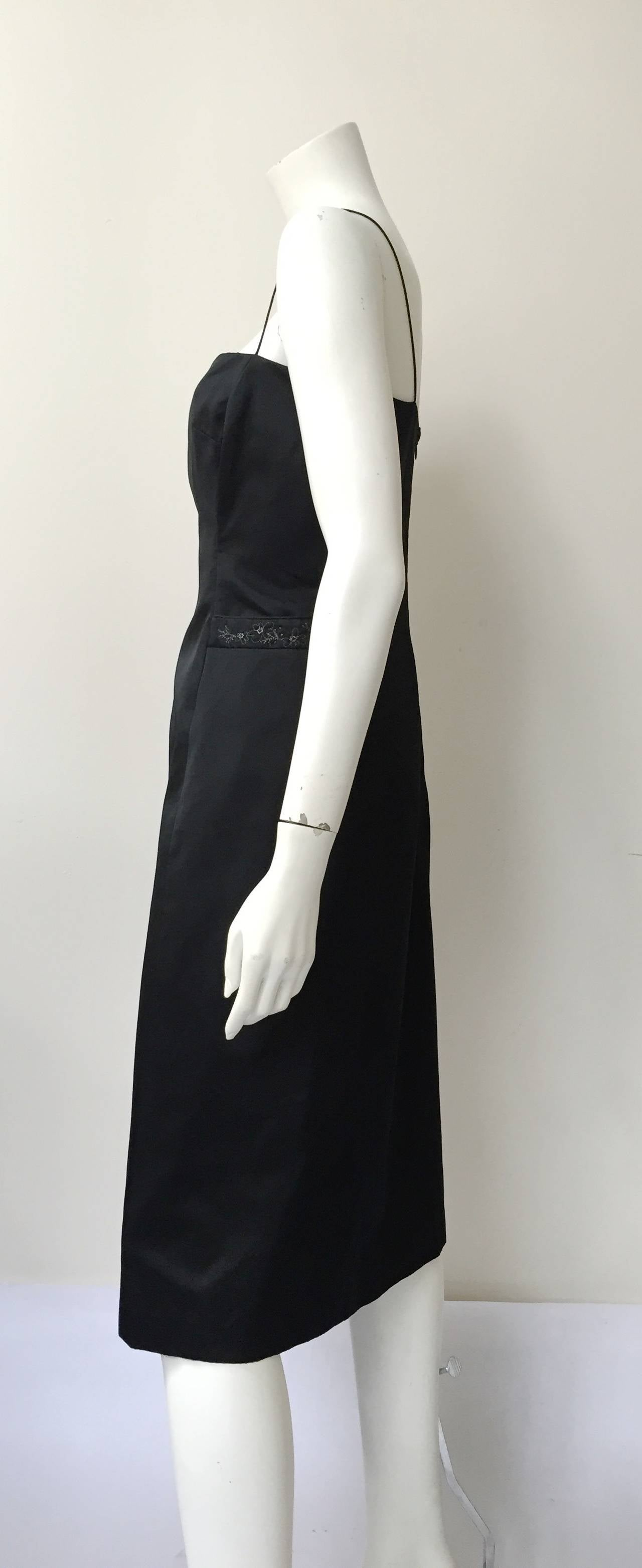 Richard Tyler Couture Black Silk Dress Size 6. For Sale 2