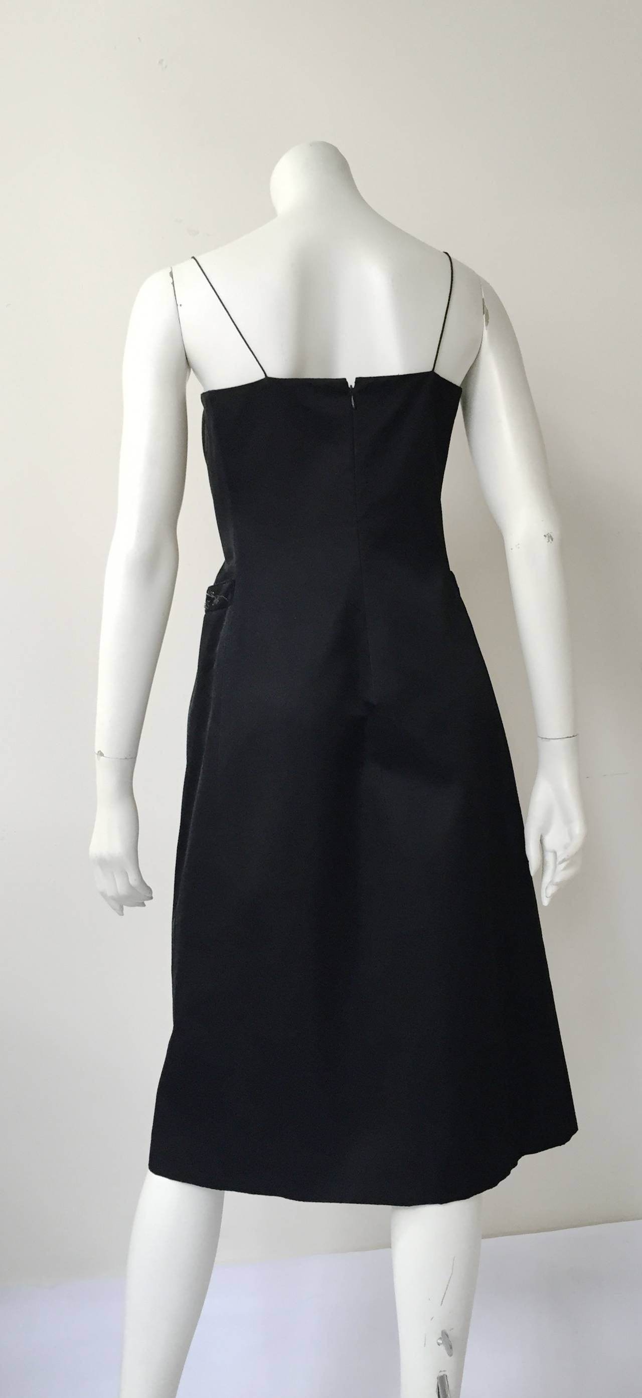 Richard Tyler Couture Black Silk Dress Size 6. For Sale 3