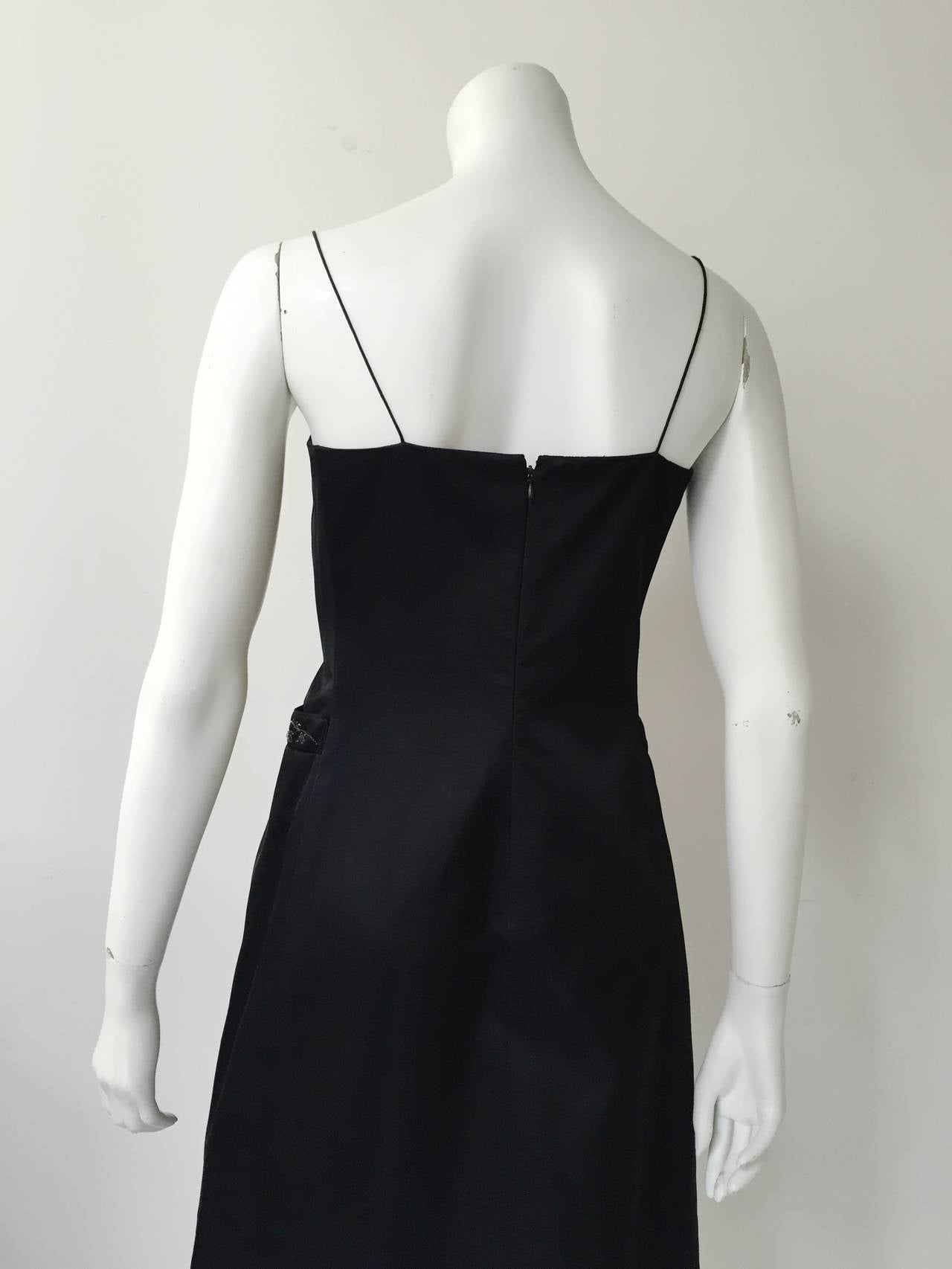 Richard Tyler Couture Black Silk Dress Size 6. For Sale 4