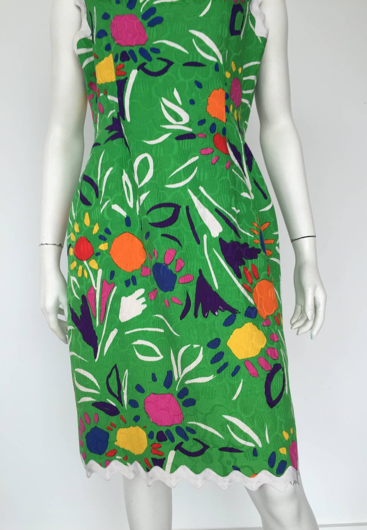 Blue Bill Blass Sleeveless Cotton Dress Size 10. For Sale