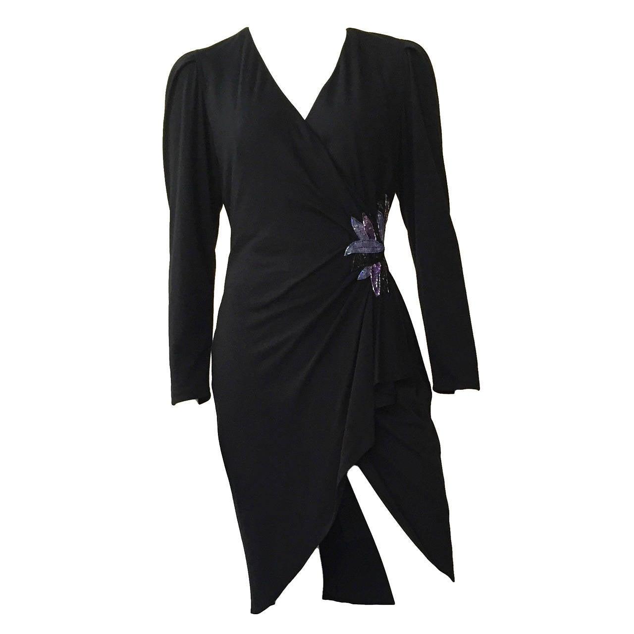 Zandra Rhodes 1980s Black with Sequin Dress Size 6.