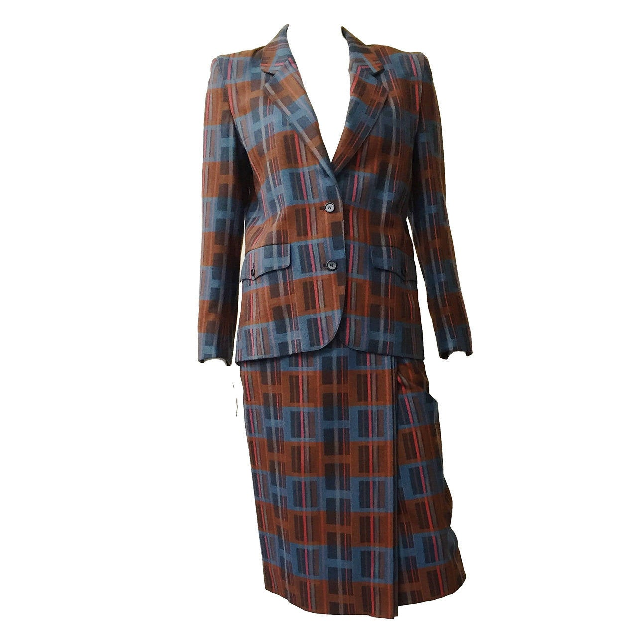 Ted Lapidus 70s modern print wool skirt suit size 6. For Sale