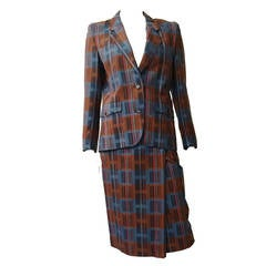 Ted Lapidus 70s modern print wool skirt suit size 6.