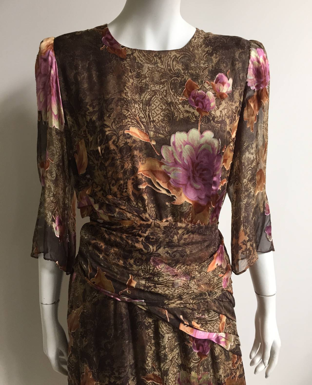 cardin 70s silk dress with scarf size large at 1stdibs