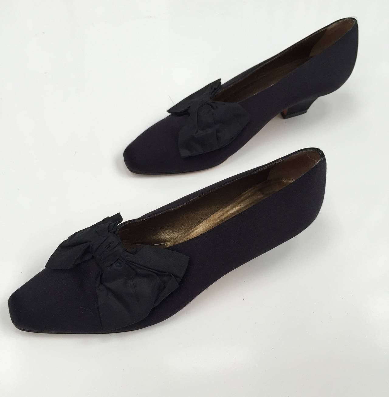 Yves Saint Laurent 80s Black Satin With Bow Evening Shoes