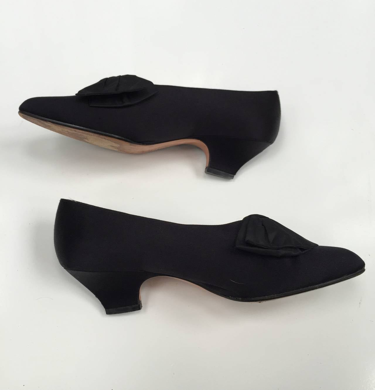 Black Satin Shoes With Bow