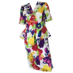 Ungaro 80s Floral Cotton Skirt Suit Size 8.