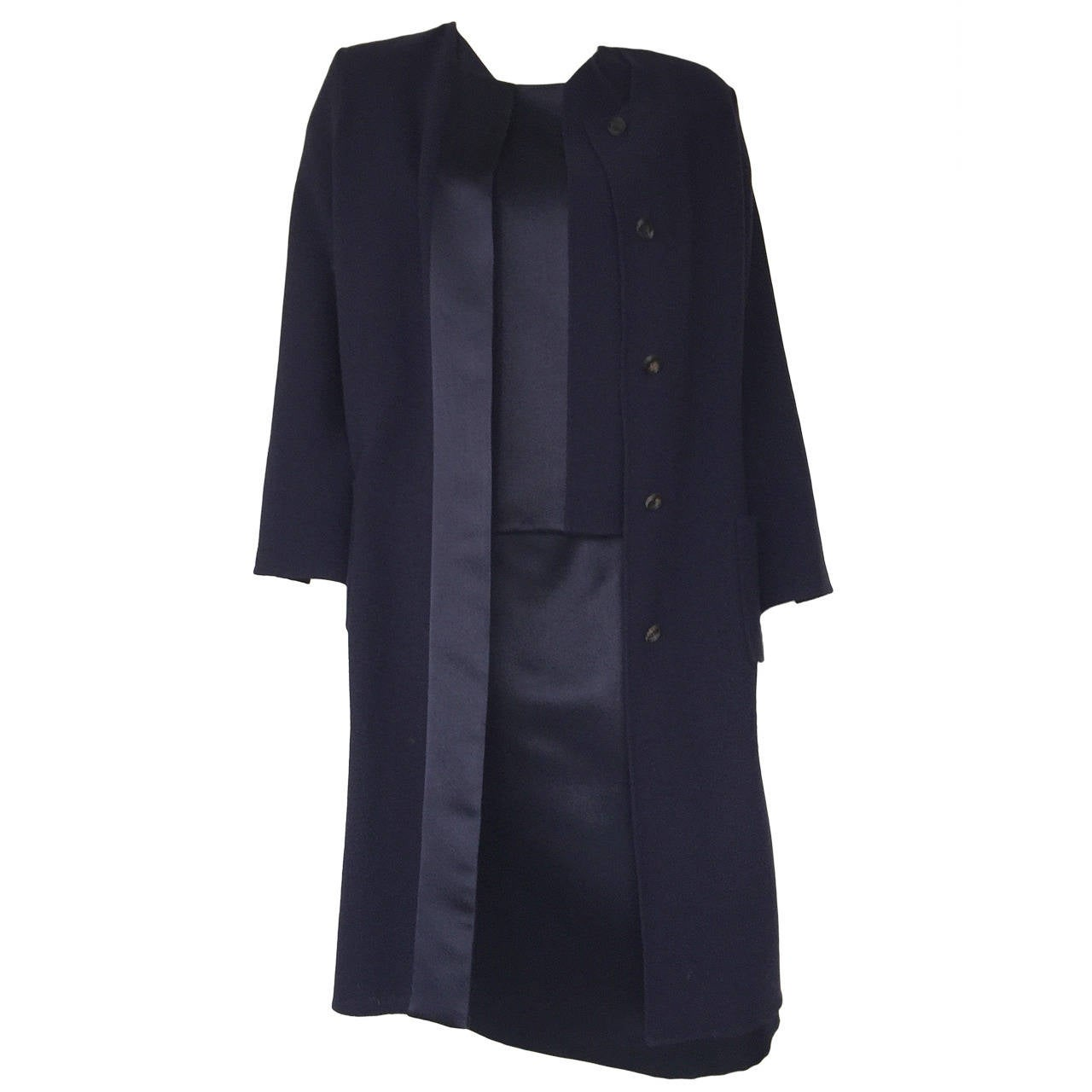 Bill Blass 70s Navy Wool 3 Piece Skirt Suit & Jacket Size Large.