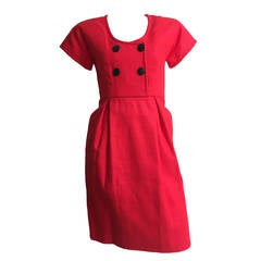 Geoffrey Beene 70s Red Linen Dress With Pockets Size 4.