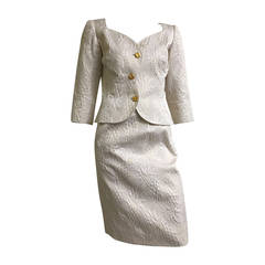 Ungaro 1980s Off White Skirt Suit Size 6.