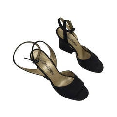 Yves Saint Laurent 1980s Black Ankle Strap Shoes Size 7.5 M.