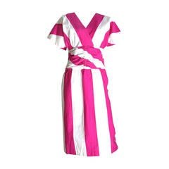 Malcolm Starr 1970s Pink & White Striped Cotton Dress Size 6.