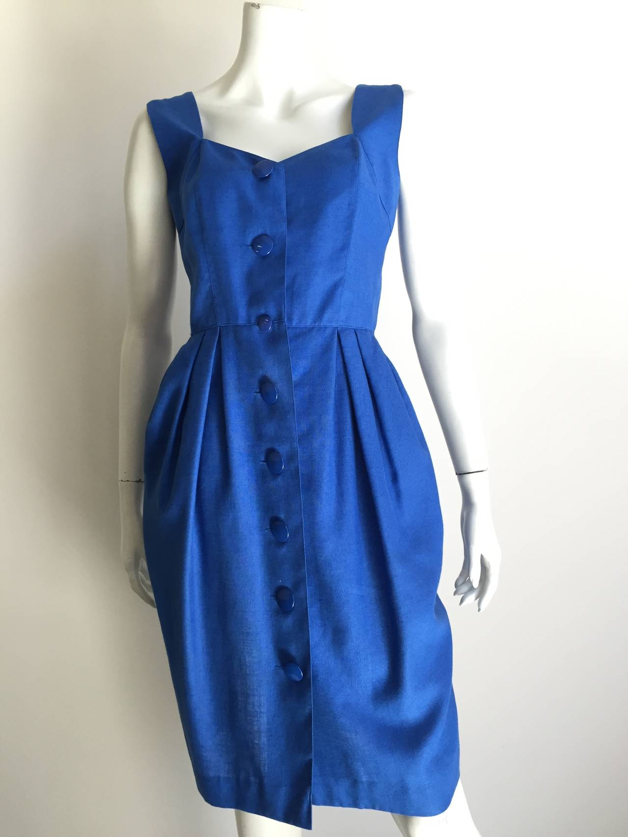 Guy Laroche Paris 80s blue dress with pockets size 6. 2