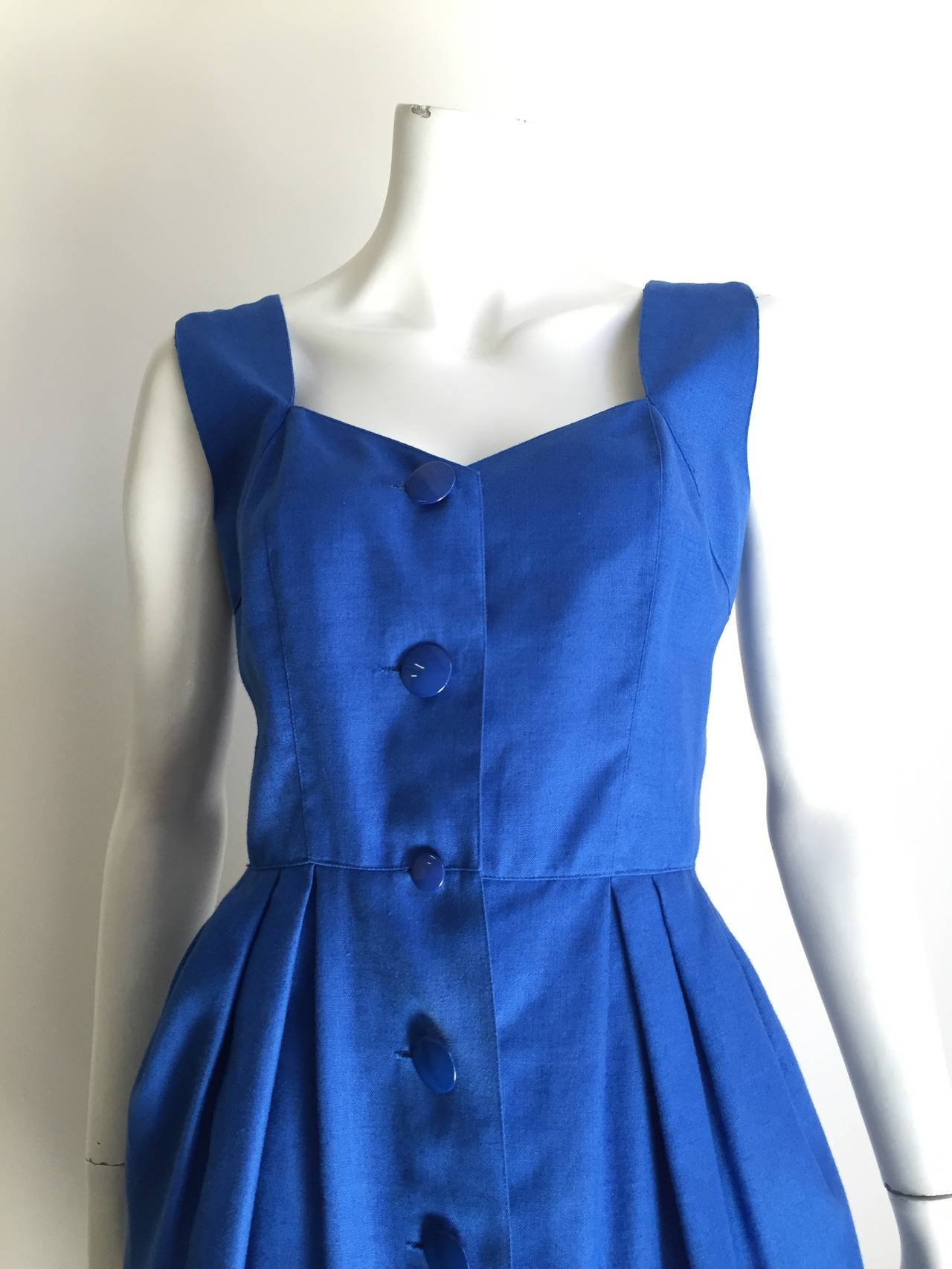Guy Laroche Paris 80s blue dress with pockets size 6. 3