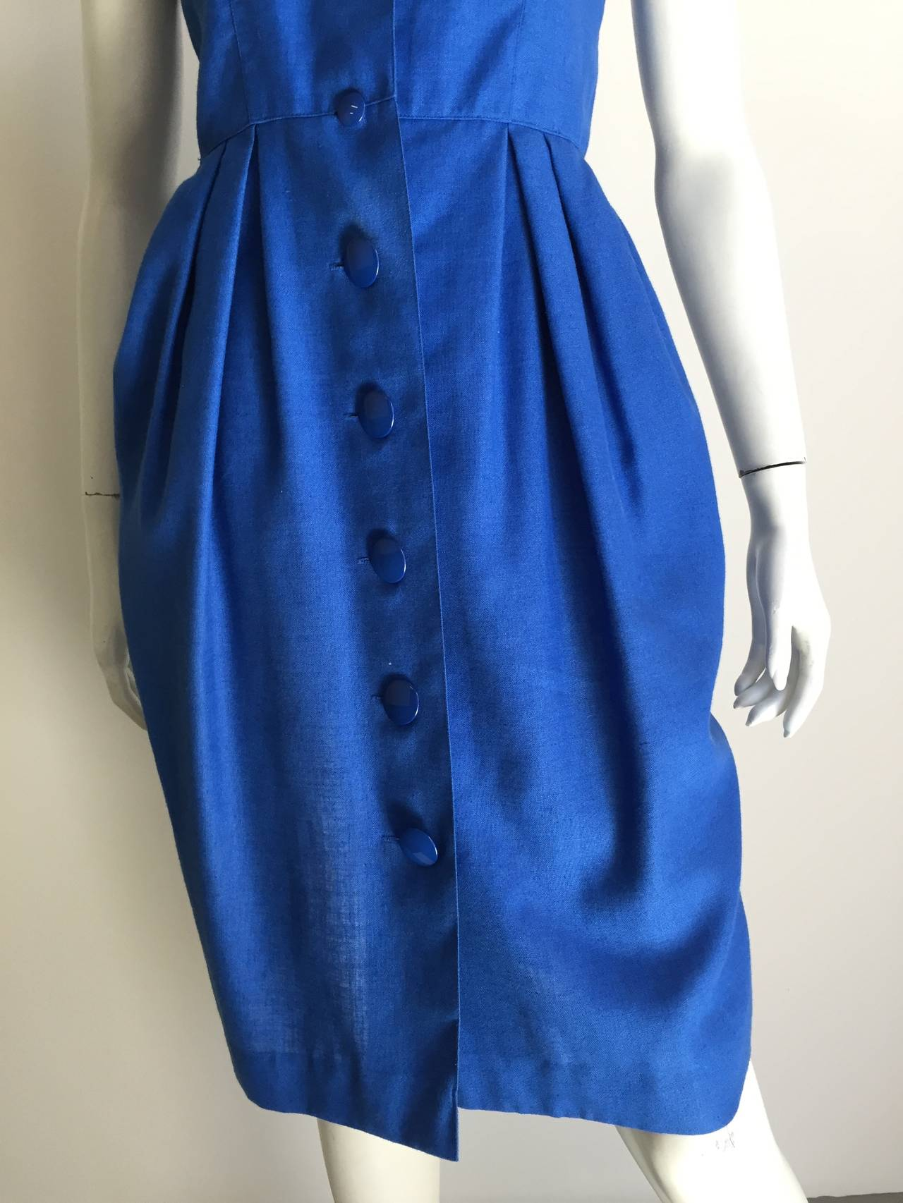 Guy Laroche Paris 80s blue dress with pockets size 6. 4