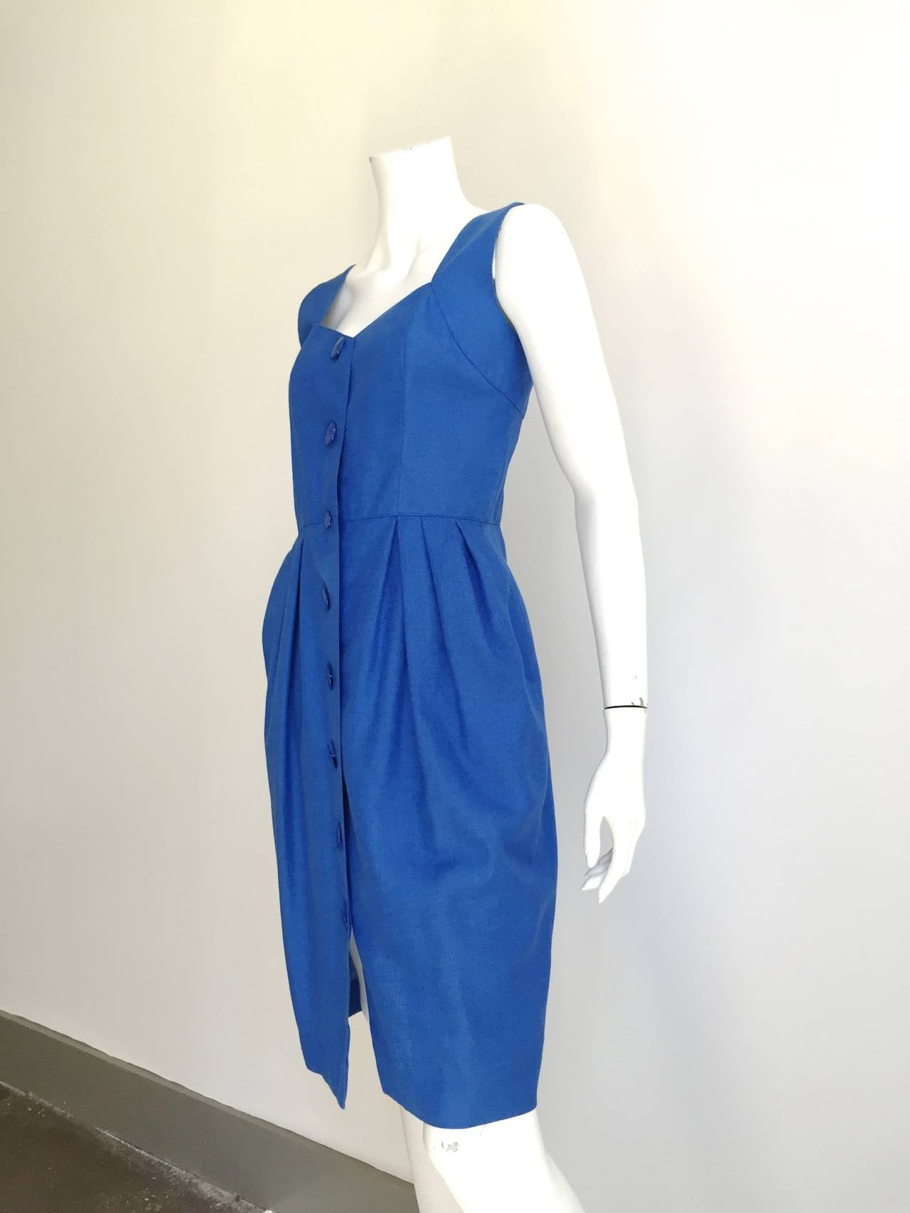 Guy Laroche Paris 80s blue dress with pockets size 6. 7