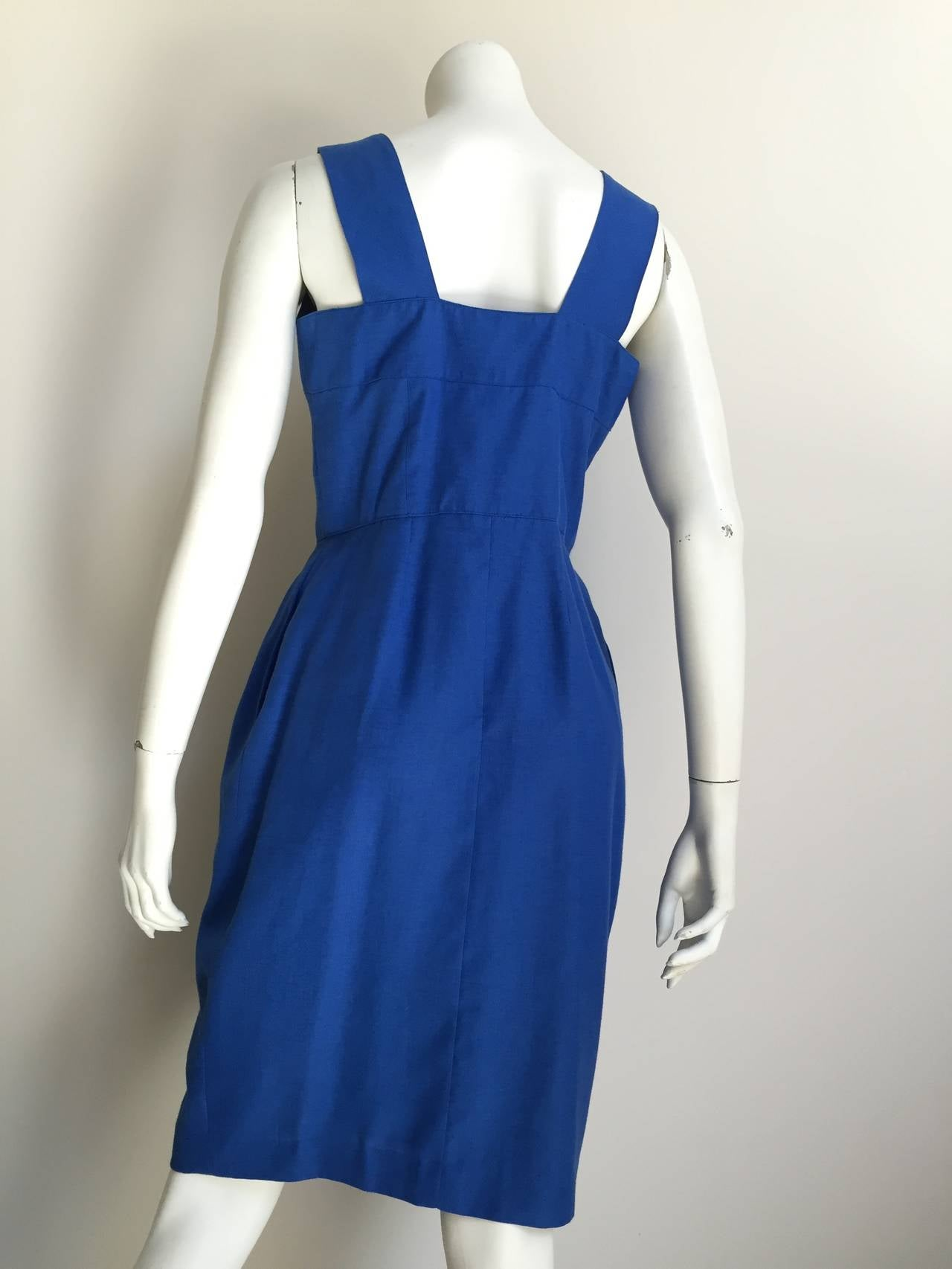 Guy Laroche Paris 80s blue dress with pockets size 6. 8