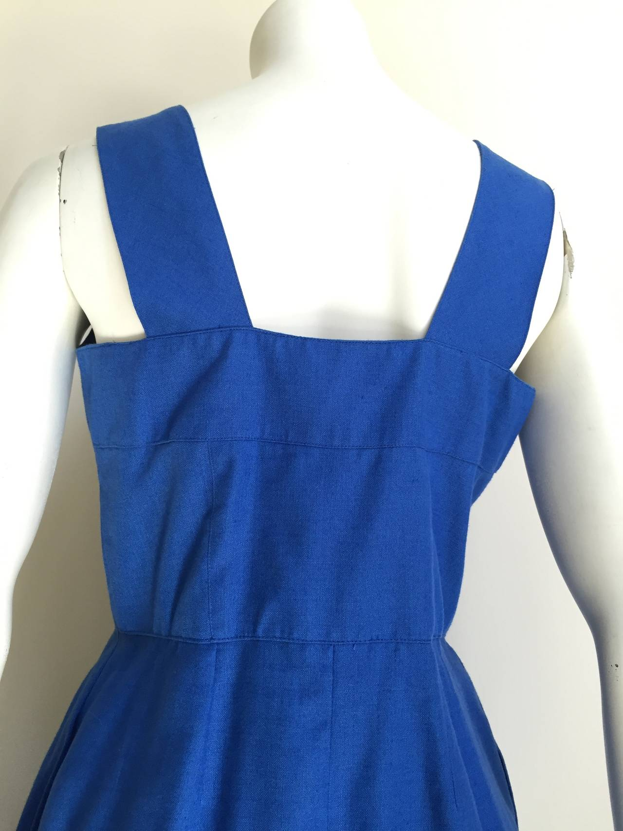 Guy Laroche Paris 80s blue dress with pockets size 6. 9