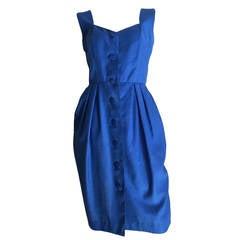 Guy Laroche Paris 1980s Blue Dress with Pockets Size 6.
