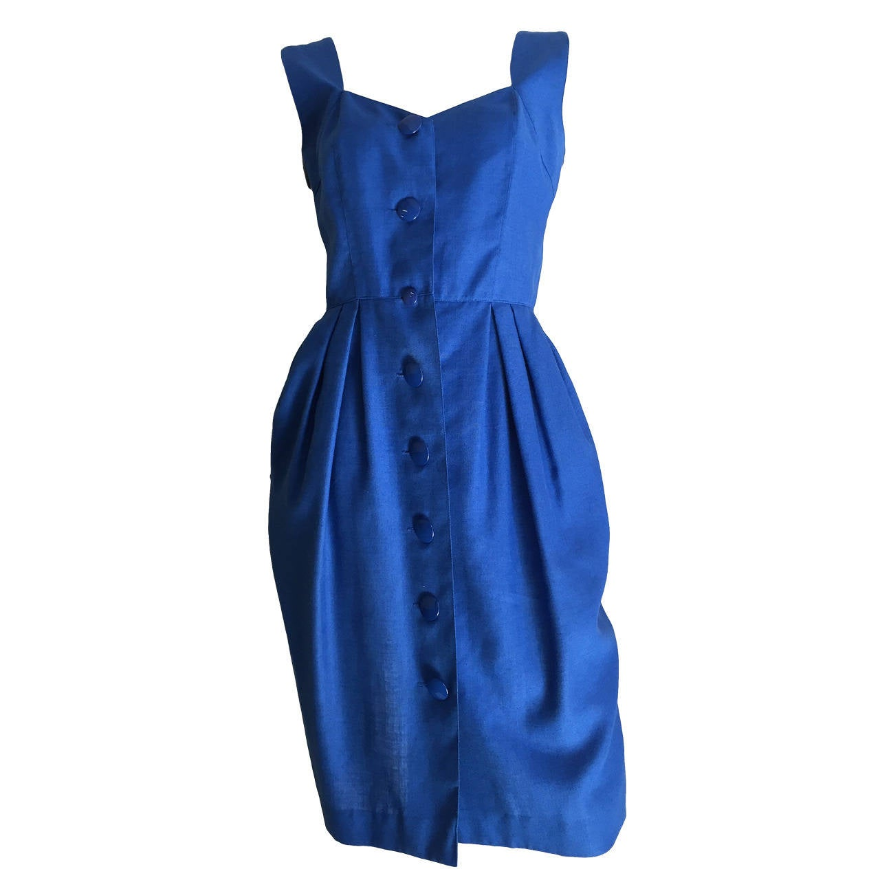 Guy Laroche Paris 80s blue dress with pockets size 6. 1