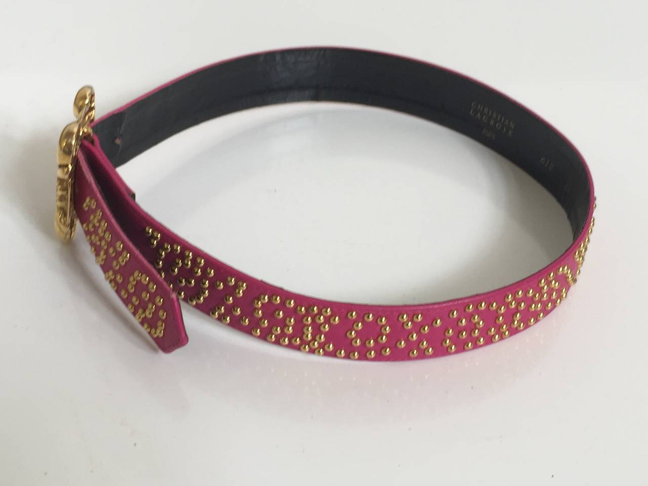 Women's Christian Lacroix pink leather studded belt, 1980s For Sale