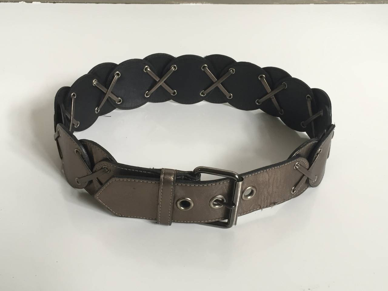 yves laurent 80s metallic leather belt size small