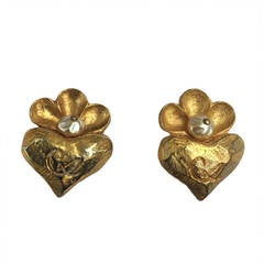 Christian Lacroix Gold Heart Clip Earrings.