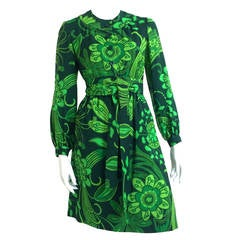 Chester Weinberg Green Flower Dress with Pockets Size 6.