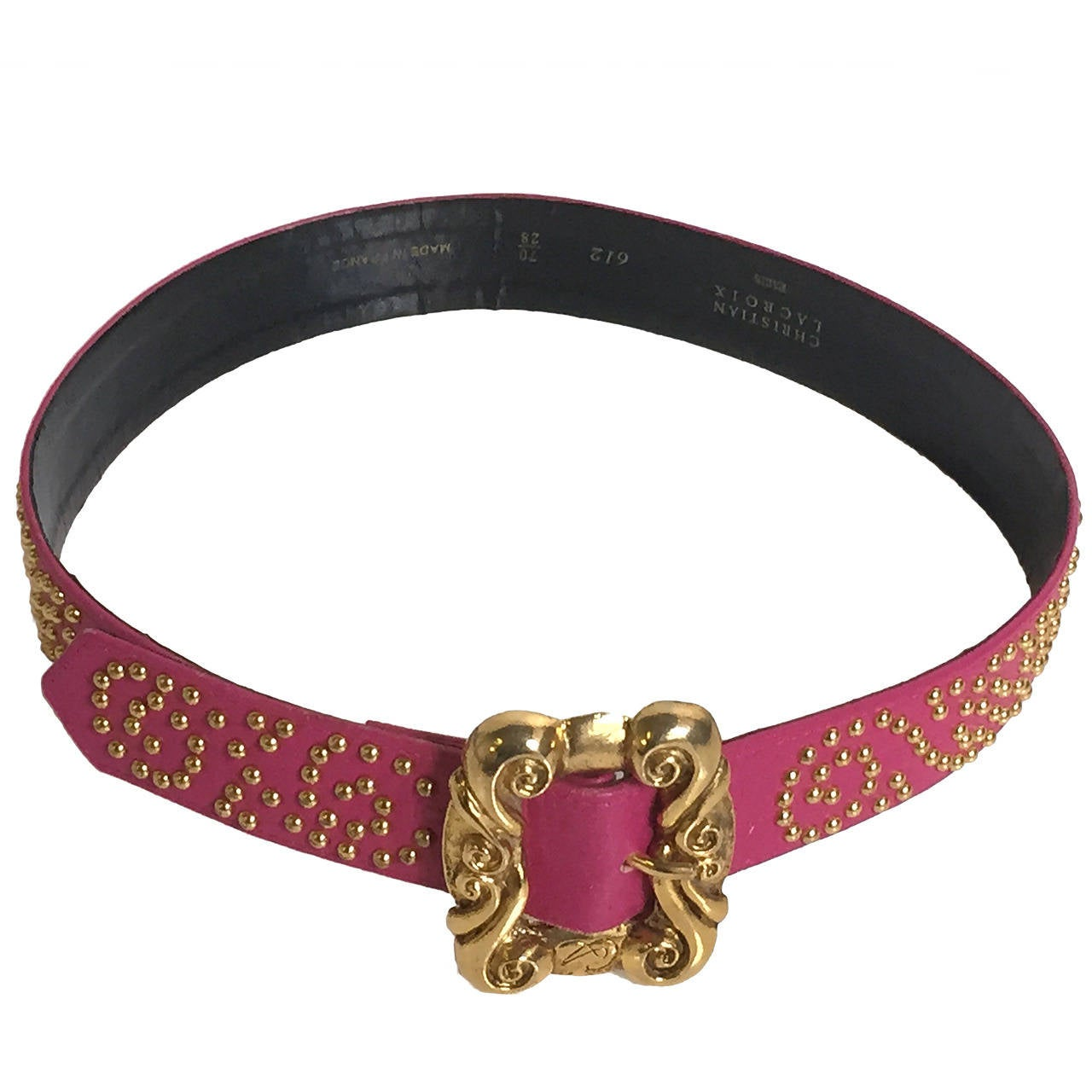 Christian Lacroix pink leather studded belt, 1980s For Sale