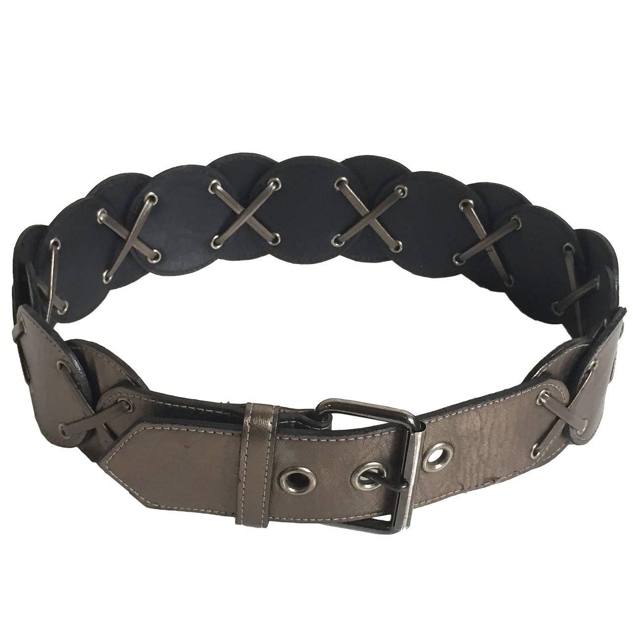 Yves Saint Laurent metallic leather belt, 1980s