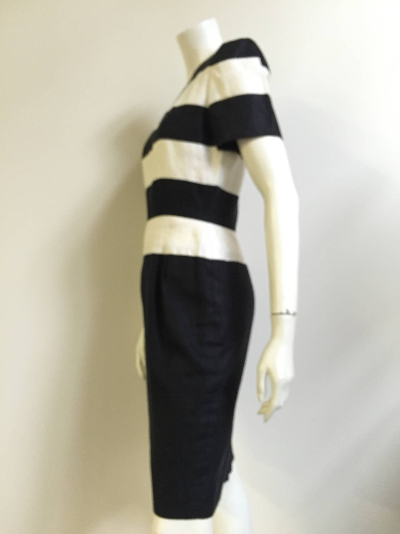 Scaasi 80s linen striped sheath dress size 4. 6