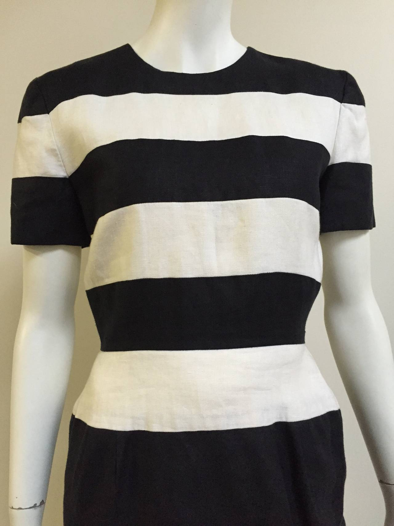 Scaasi 80s linen striped sheath dress size 4. 2