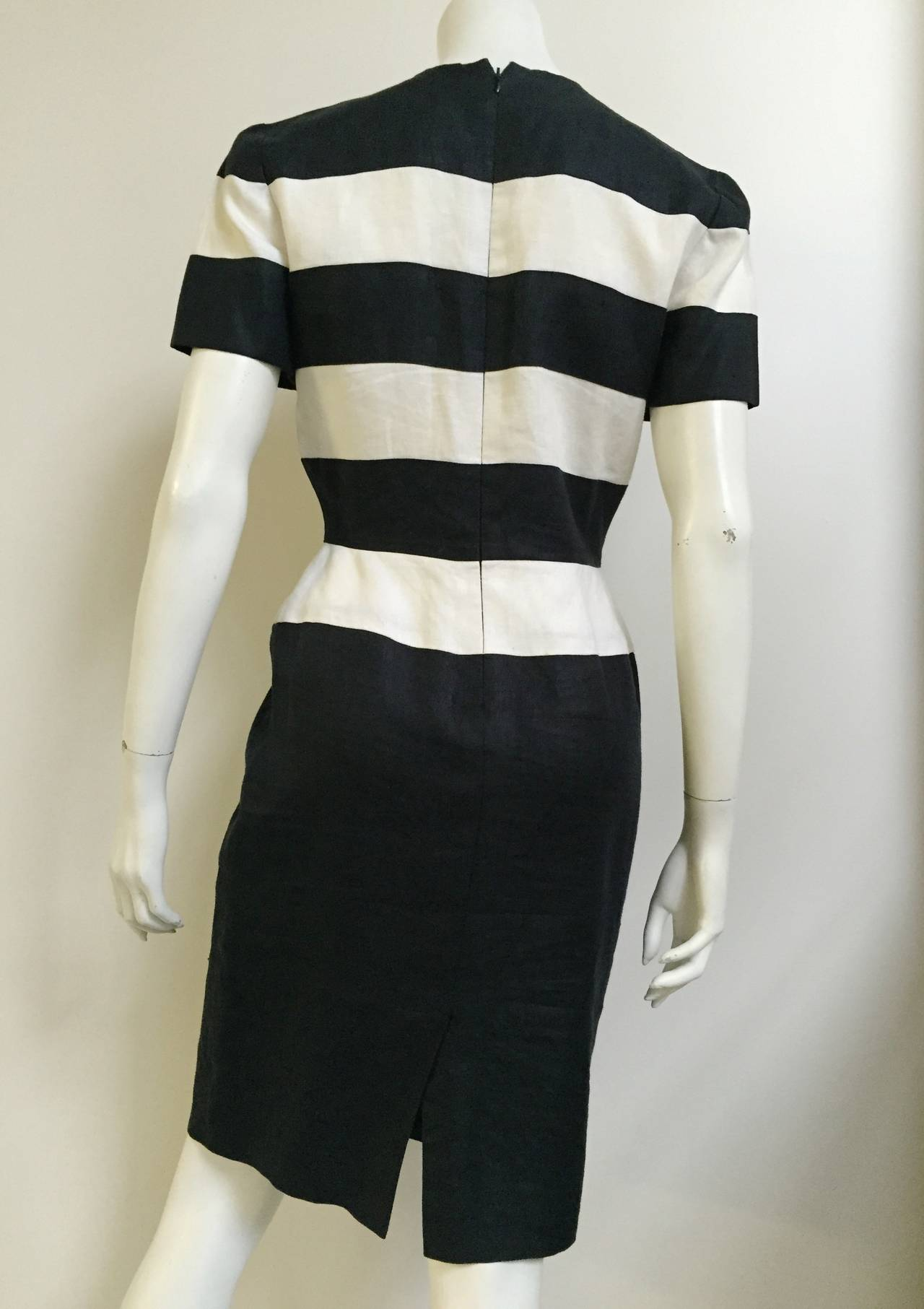 Scaasi 80s linen striped sheath dress size 4. 4
