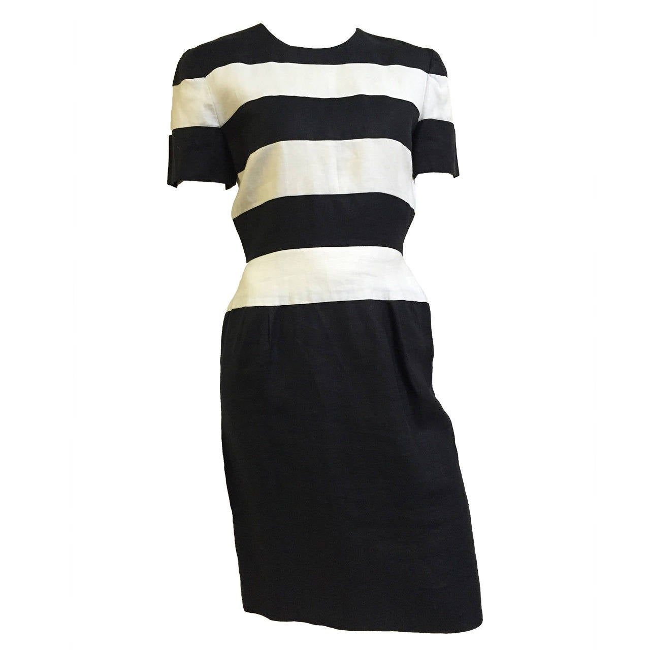 Scaasi Navy and White Linen striped Sheath Dress, Size 4
