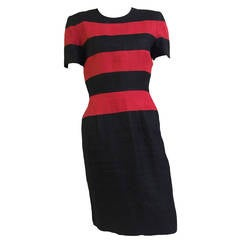 Scaasi Black and Red Linen Striped Sheath Dress, Size 6