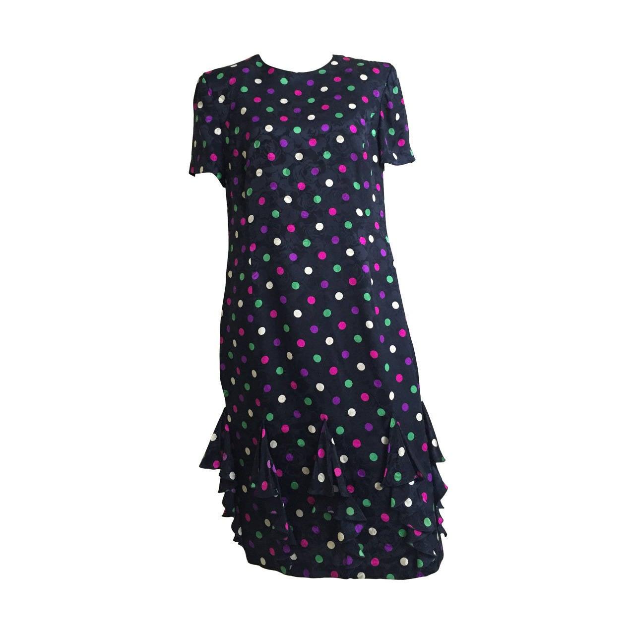 Louis Feraud silk navy with polka dot dress size 10, 1980s