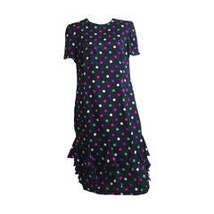 Louis Feraud silk navy with polka dot dress size 10, 1980s