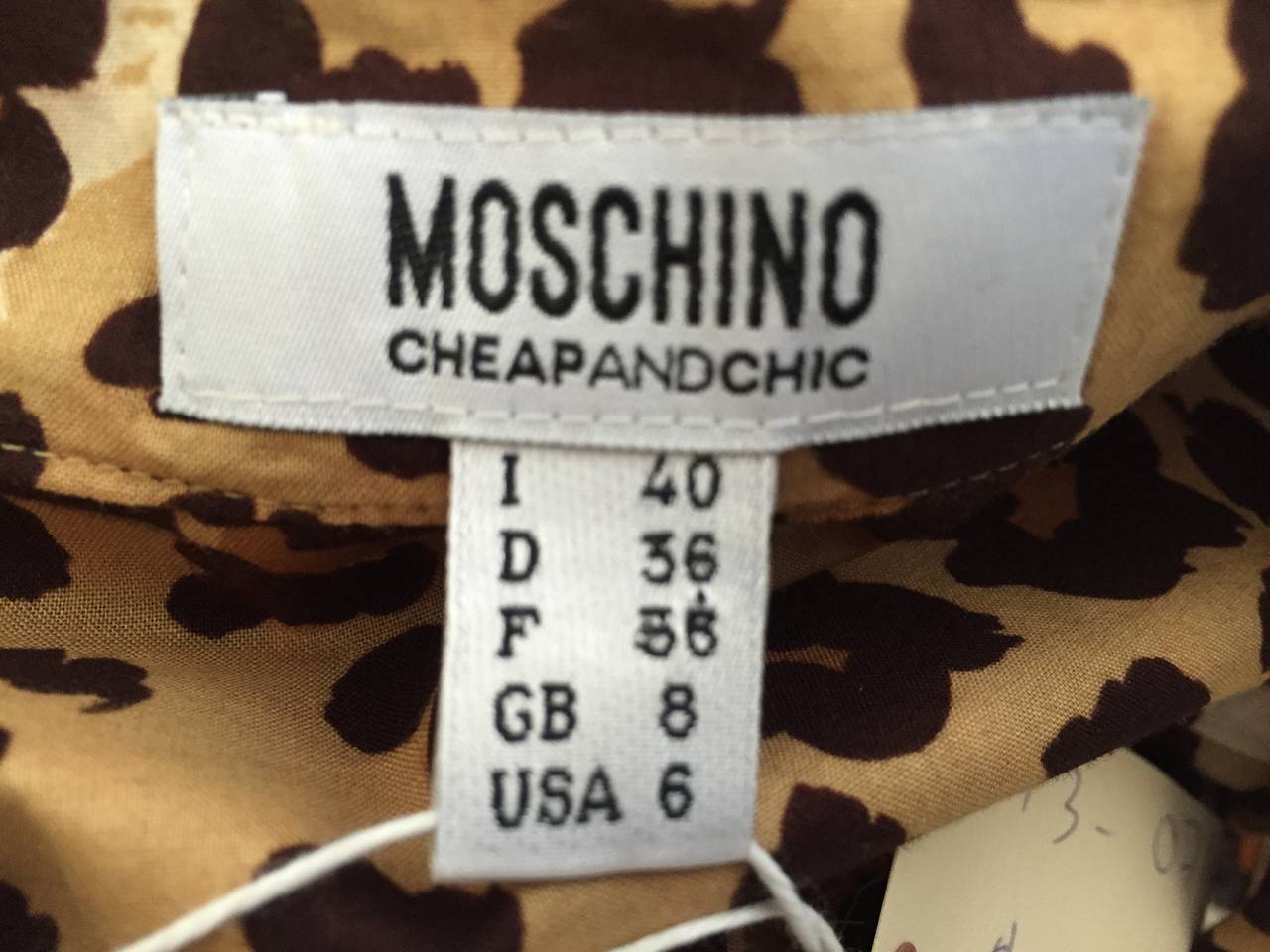 Moschino cheetah print dress with pockets size 6. 9
