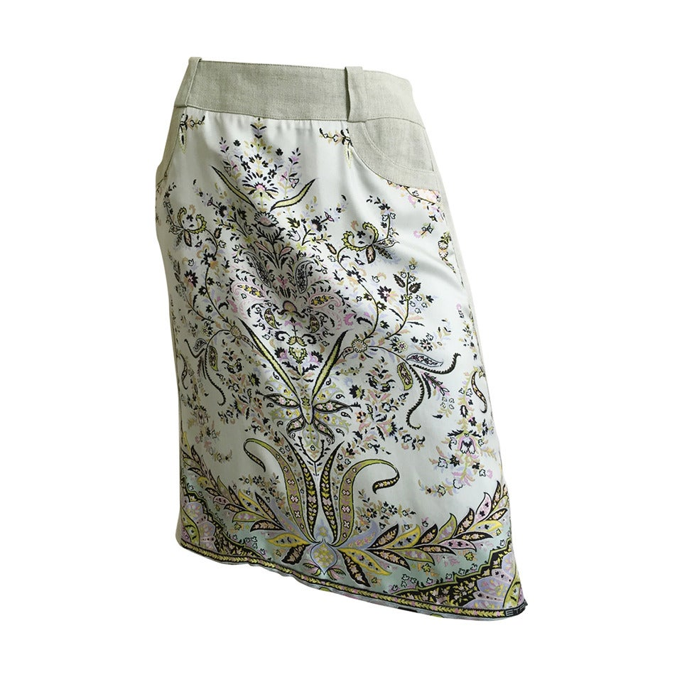 ETRO Silk & Linen Skirt with Pockets Size 6 / 46.