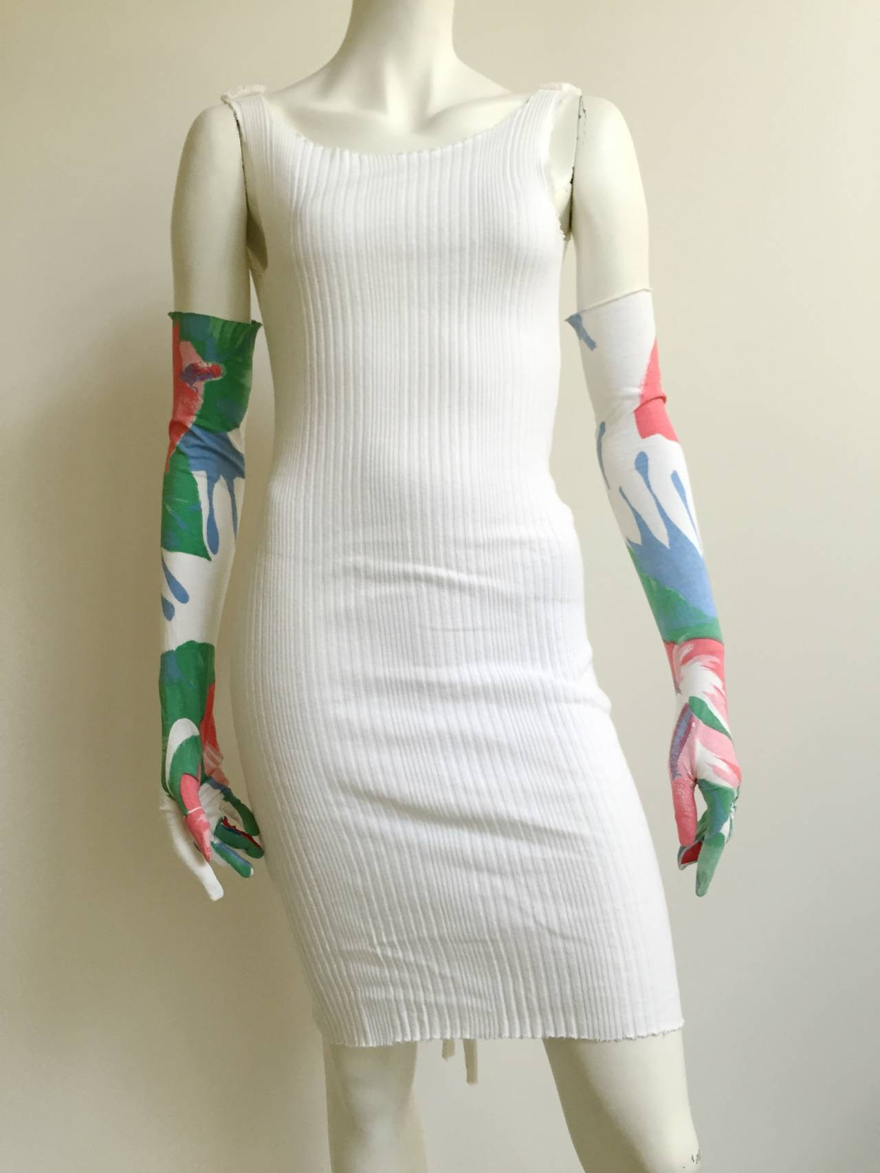 Patrick Kelly 70s ribbed cotton dress with gloves size 4. 8