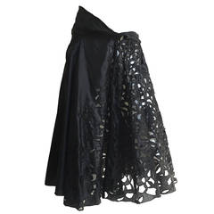Dries Van Noten cutout black silk skirt size 6 / 40.