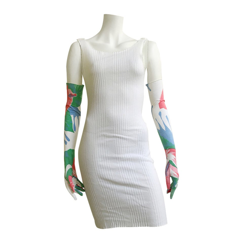 Patrick Kelly 70s ribbed cotton dress with gloves size 4. 1