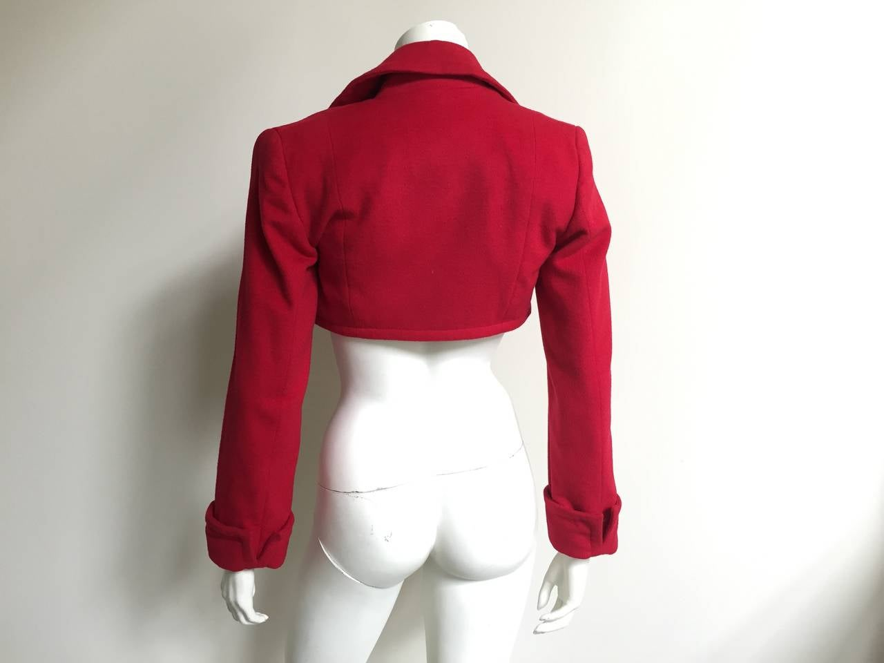 Patrick Kelly Paris 1988 red cropped jacket size 6. For Sale 1