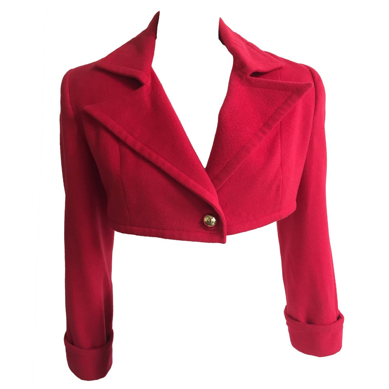 Patrick Kelly Paris 1988 red cropped jacket size 6. For Sale