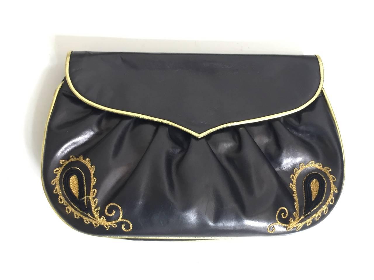 Barbara Bolan Black Leather Paisley Shoulder and/or Clutch Handbag, 1980s  For Sale 3