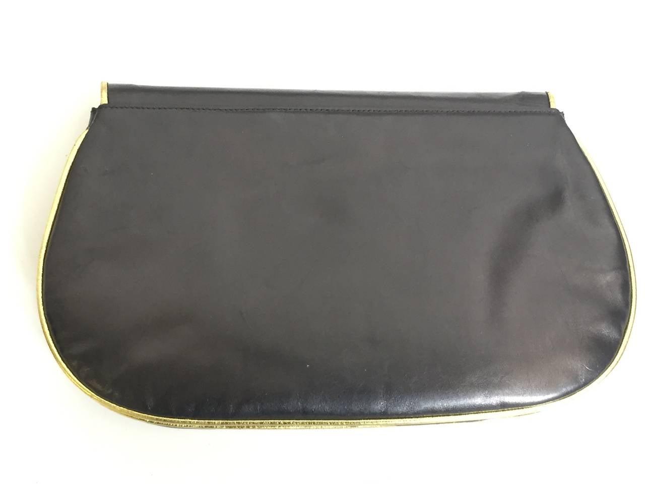 Barbara Bolan Black Leather Paisley Shoulder and/or Clutch Handbag, 1980s  In Good Condition For Sale In Atlanta, GA