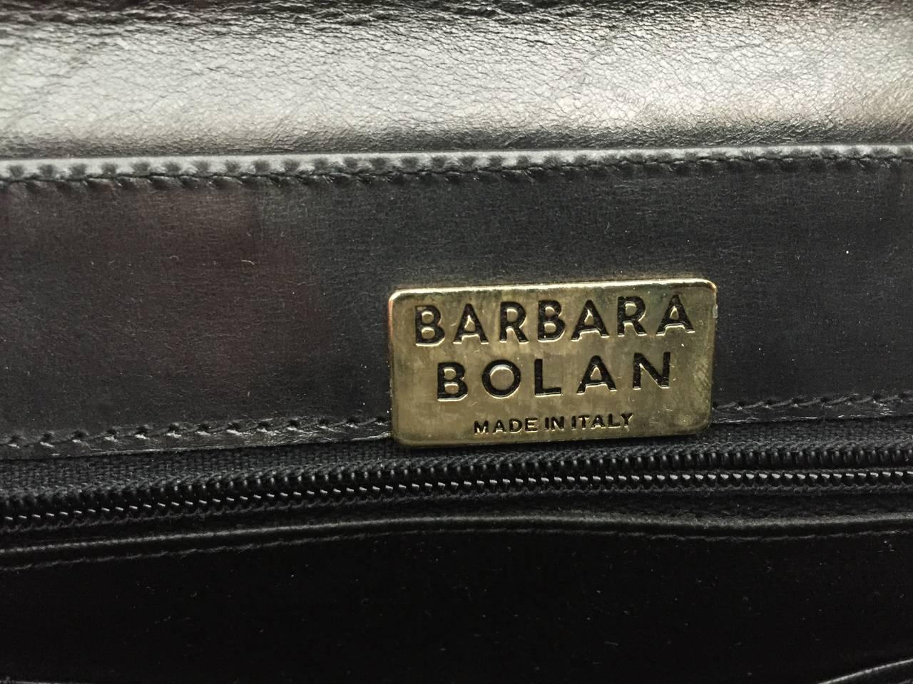 Barbara Bolan Black Leather Paisley Shoulder and/or Clutch Handbag, 1980s  For Sale 2